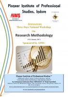"Three Days National Workshop on ""Research Methodology"""